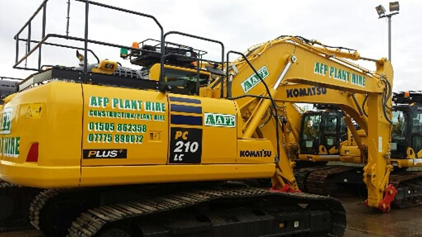 Komatsu PC210 Excavator for hire from AFP Plant Hire Glasgow